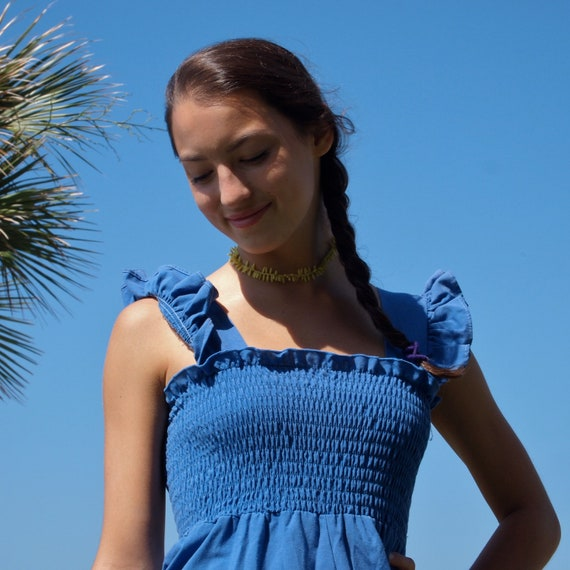 Reserved for Anna-Vintage Dress Sweet 70's Denim Blue Cotton Ruched Bodice Dress with Ruffle Sleeves size Small