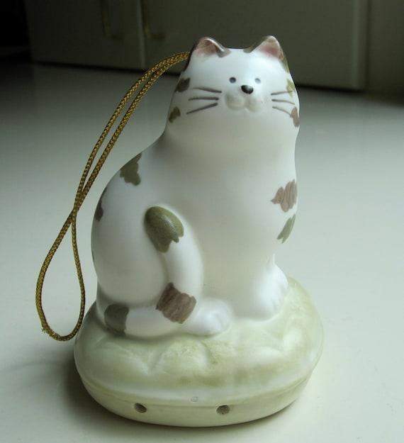 Takahashi Midcentury Kliban style Ceramic Hand Painted Cat Ornament Potpourri