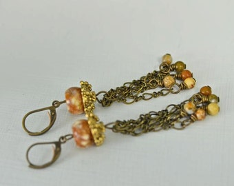 Ocean Jasper Earrings Brown Earrings Long Earrings Chandelier Earrings Dangle Earrings Ready to Ship
