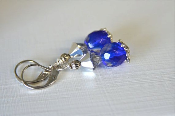 """Cobalt Blue Glass and Silver Crystal Earrings for weddings and friendship earrings Handmade in Maine """"SNOW FAIRY"""""""