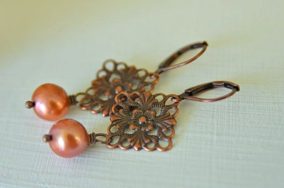Copper Filigree Dangle Earrings with Sienna Blush Freshwater Pearls and Lever Back Ear Wires . Great Gift for Mom . Handmade in Maine