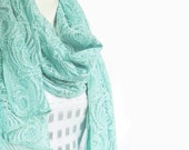 Cotton Lace Scarf in Pastel Licht Teal  Green..blue