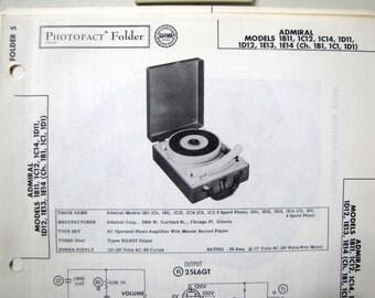 1957 Admiral Portable Record Player Photo Repair Manual