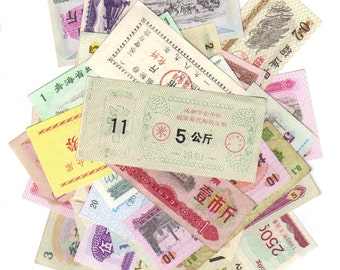 12 China Different Mixed Ration Coupons - Vintage Chinese Tickets