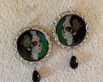 Green Sugar Skull Bottle Cap Earrings