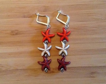 Starfish Earrings - Orange, White and Brown