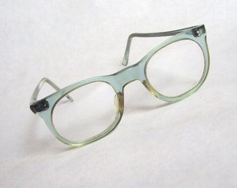 1960s Aqua blue spectacles & case