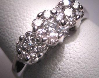 Vintage Diamond Wedding Ring 1/2 Carat Band White Gold