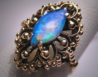 Antique Australian Opal Ring 14K Gold Vintage Victorian