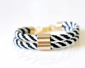 Double Tube Rope Bracelet - Black & White Stripes