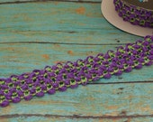 ELASTIC Waffle Crochet Ribbon in PURPLE with Lime Green - 2 Yards X 1.5 Inches - for Crafts, Tutus, Headbands, Couture Ribbon