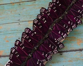Feather Butterflies -12 Monarch Butterflies in DEEP PURPLE - 3 Inches - Artificial Butterflies, Wedding Favors