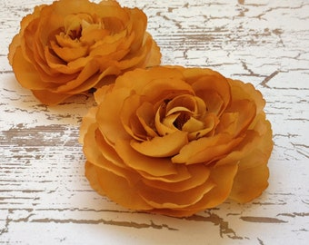 Silk Flowers - Two Ranunculus Flowers in Mustard Gold - 3.5 Inches - Artificial Flowers