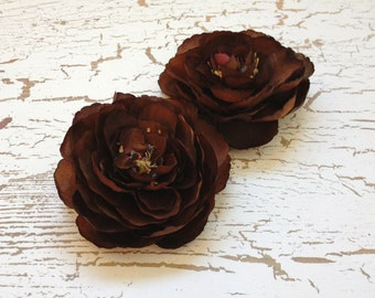Two Chocolate Brown Ranunculus Flowers - 3.5 Inches - Artificial Flowers