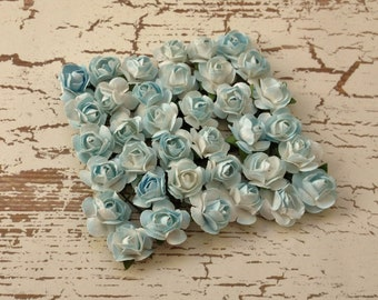 Paper Flowers - 36 Tiny Pale Aqua Blue Paper Roses for Scrapbooking, Favors, Wedding Invitations, Paper Crafting