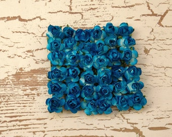 Paper Flowers - 36 Tiny Turquoise Blue Paper Roses for Scrapbooking, Favors, Wedding Invitations, Paper Crafting