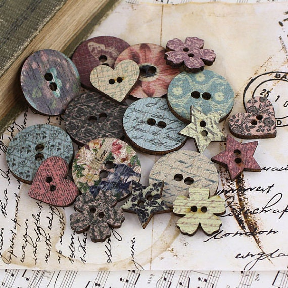 Prima Fairy Belle Wood Buttons for Scrapbboking, Hair Accessories, Dress Making, Millinery