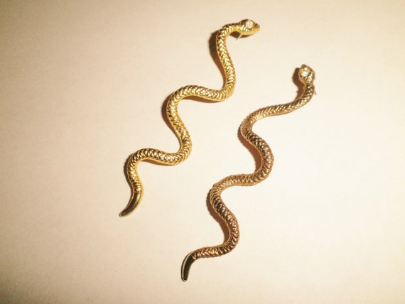 """Vintage Runway snake earrings HUGE 4"""" long Statement"""