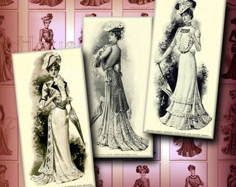 Victorian Fashions Dominoes Digital Collage 1 x 2 inch Vintage Victorian Dresses Pendant Images Decoupage Printable Instant Download