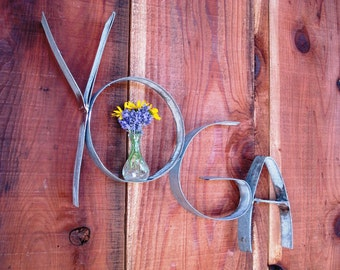 """RING ART - """"Yoga""""  w/ vase and candle holder - 100% recycled from Napa Wine  Barrel Rings"""