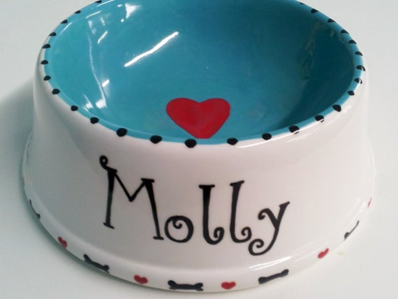 "Personalized, Pair of Large ""Bone & Heart"" Pet Dishes - Hand painted"