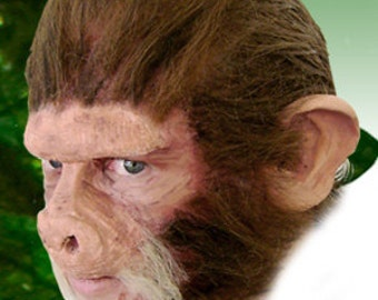Chimp Ape Monkey Cosplay LARP Halloween Costume Latex Prosthetic Face Nose Mask