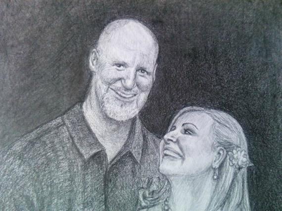 Custom Couple Pencil Drawing 11 x 14