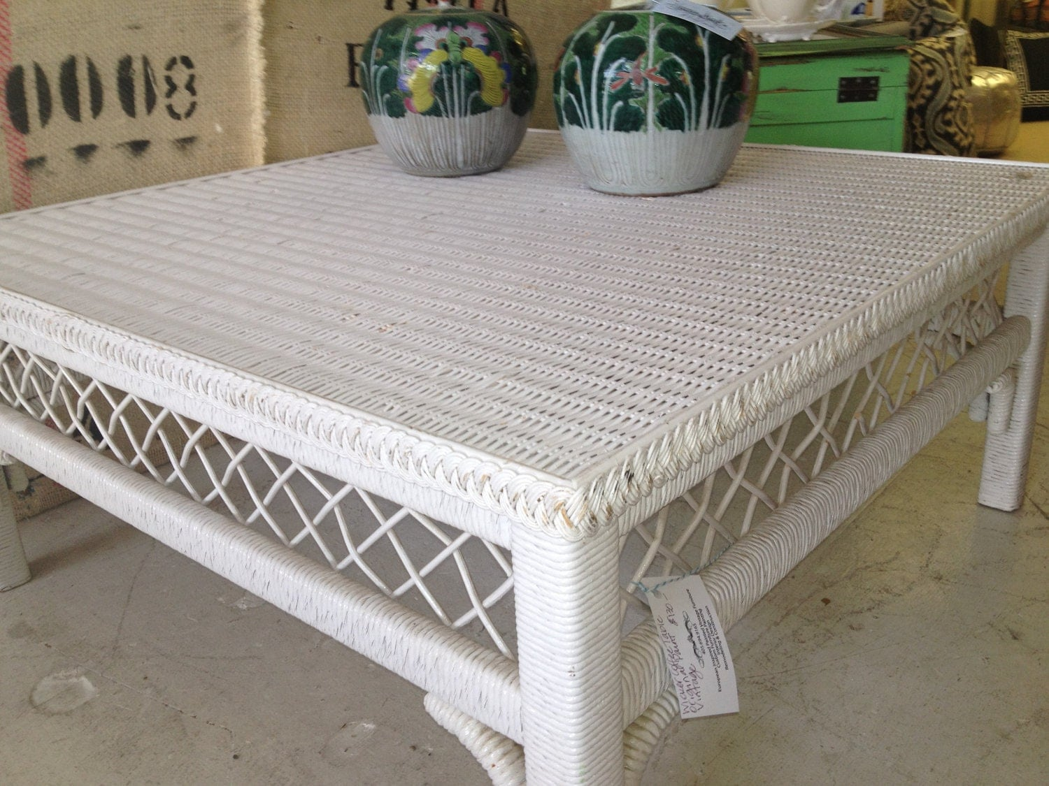 Wicker coffee table white vintage White wicker coffee table
