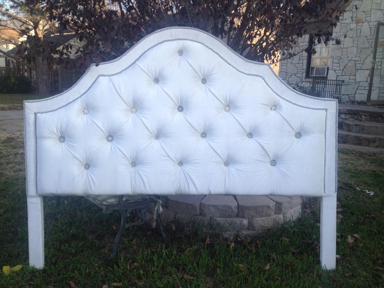 Custom Upholstered Headboard Queen Rhinestone Nailheads For