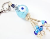 Artisan Handmade Translucent Turquoise Pomegranate Keychain or Bag Charm