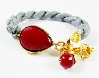 Ruby Red Jade & Titanium Grey  Silk Turkish Bracelet - Teardrop Gold Plated - Fall Fashion