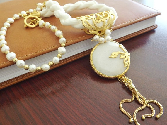 White Silk Necklace With Freshwater pearls and White Jade Stone Pendant - Fall Fashion