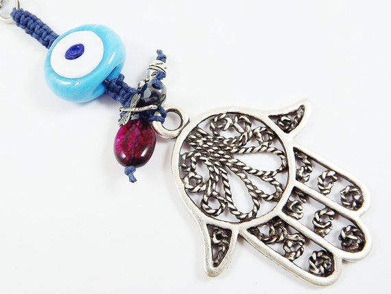 Limited Edition Hamsa - Hand of Fatima Keychain or Bag Charm -  Handmade Artisan Lucky Evil Eye Glass bead - Turquoise