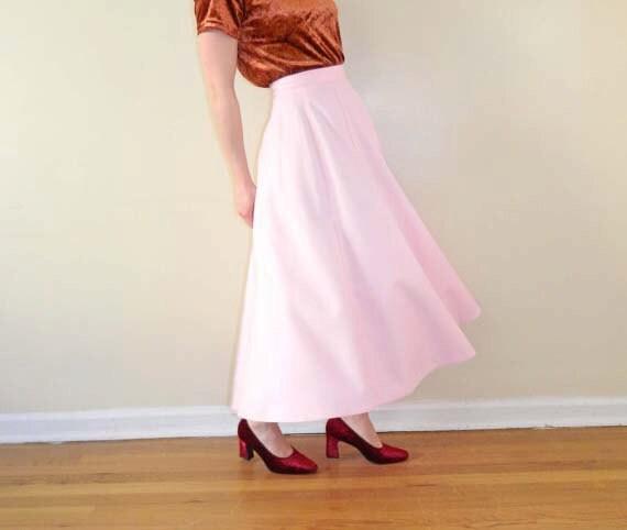 Pink Skirt Long Circle Skirt Pastel 1970s Maxi XS SALE