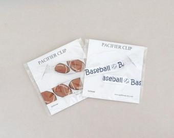 Pacifier Clip Baseball , Football Paci Clip Boys Binky Clip