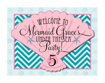 DIY Printable Vintage Mermaid Birthday Yard Sign