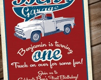 DIY Printable Vintage Truck Birthday Party Invitation or Baby Shower Invitation