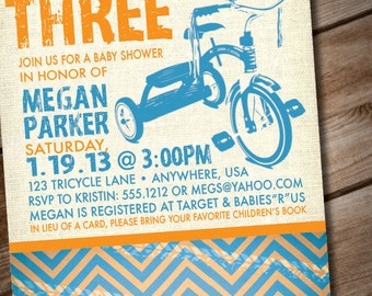 DIY Printable Tricycle Baby Shower Invitation or Birthday Invitation