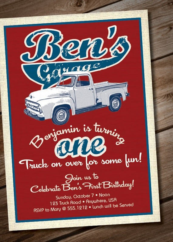 DIY Printable Vintage Truck Birthday Party Invitation or Baby