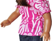 American Girl Clothes - Pink & White Top with Skinny Jeans - Metallic Silver Flats