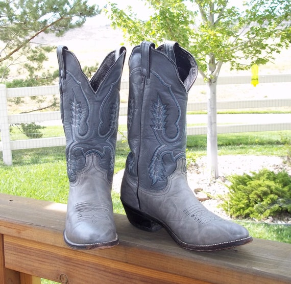 vintage cowboy boots gray leather two tone us womens size