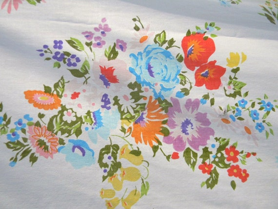Vintage Sheet Shabby Spring Florwers - Twin 1960s - Treasury