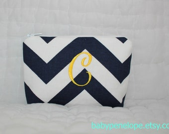Personalized Padded Cosmetic Bag/ Gadget Case - Chevron - Navy