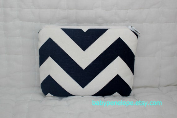 Padded Cosmetic Bag/ Gadget Case - Chevron - Navy