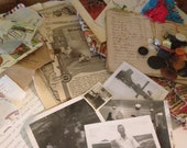 Vintage & Antique Mixed Paper Ephemera Lot - Photos, Fabric, Buttons, Stamps, Mixed Paper - 200 pieces