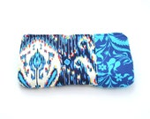 cobalt blue zipper pouch / summer fashion /  ikat / bridesmaids / cosmetic bag