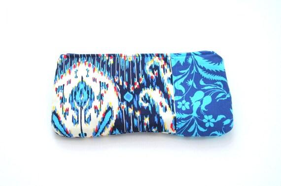 cobalt blue zipper pouch / summer fashion /  ikat / bridesmaids / cosmetic bag
