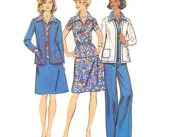 1970s Separates Vintage Pattern - UNCUT and FF Simplicity 6167 - Misses or Unlined Jacket, Top, Skirt or Pants Sewing Pattern/ Size 14