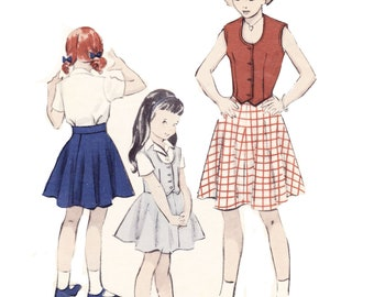 1950s Girls Separates Pattern - Butterick 5320 - Girls Blouse, Weskit and Top Sewing Pattern
