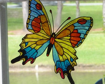 Butterfly blue yellow rust  window cling